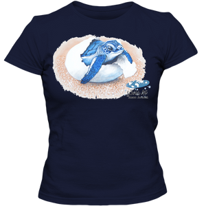 Adult Ladies Classic Tees, Mom and Baby Collection - Marine Life Series, Baby Sea Turtle