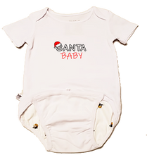 "Load image into Gallery viewer, EZ-On BaBeez Baby Bodysuit, Short Sleeve- Christmas ""Santa Baby"""