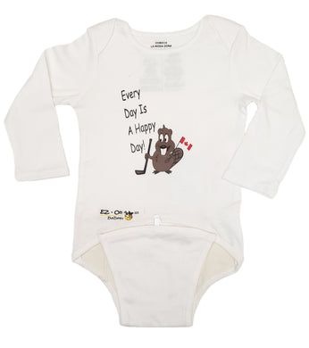 EZ-On BaBeez™ - Spring & Summer - Canadian Beaver - on White - Baby Bodysuit, Long Sleeve