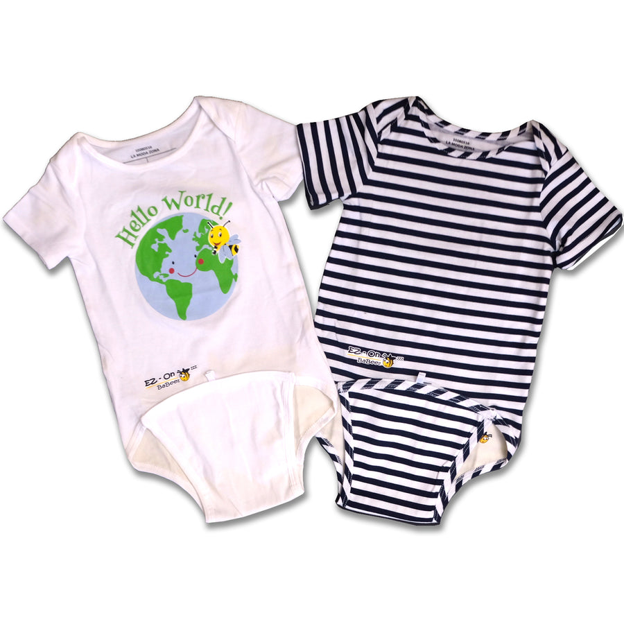 EZ-ON BABEEZ™️ BABY BODYSUIT HELLO WORLD and  BLUE & WHITE STRIPE