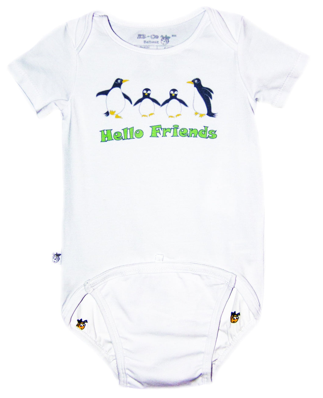 EZ-On BaBeez™ - Spring & Summer - Hello Friends - on White - Baby Bodysuit