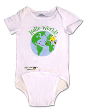 Load image into Gallery viewer, EZ-On BaBeez™ - Spring & Summer - Hello World - on White - Baby Bodysuit