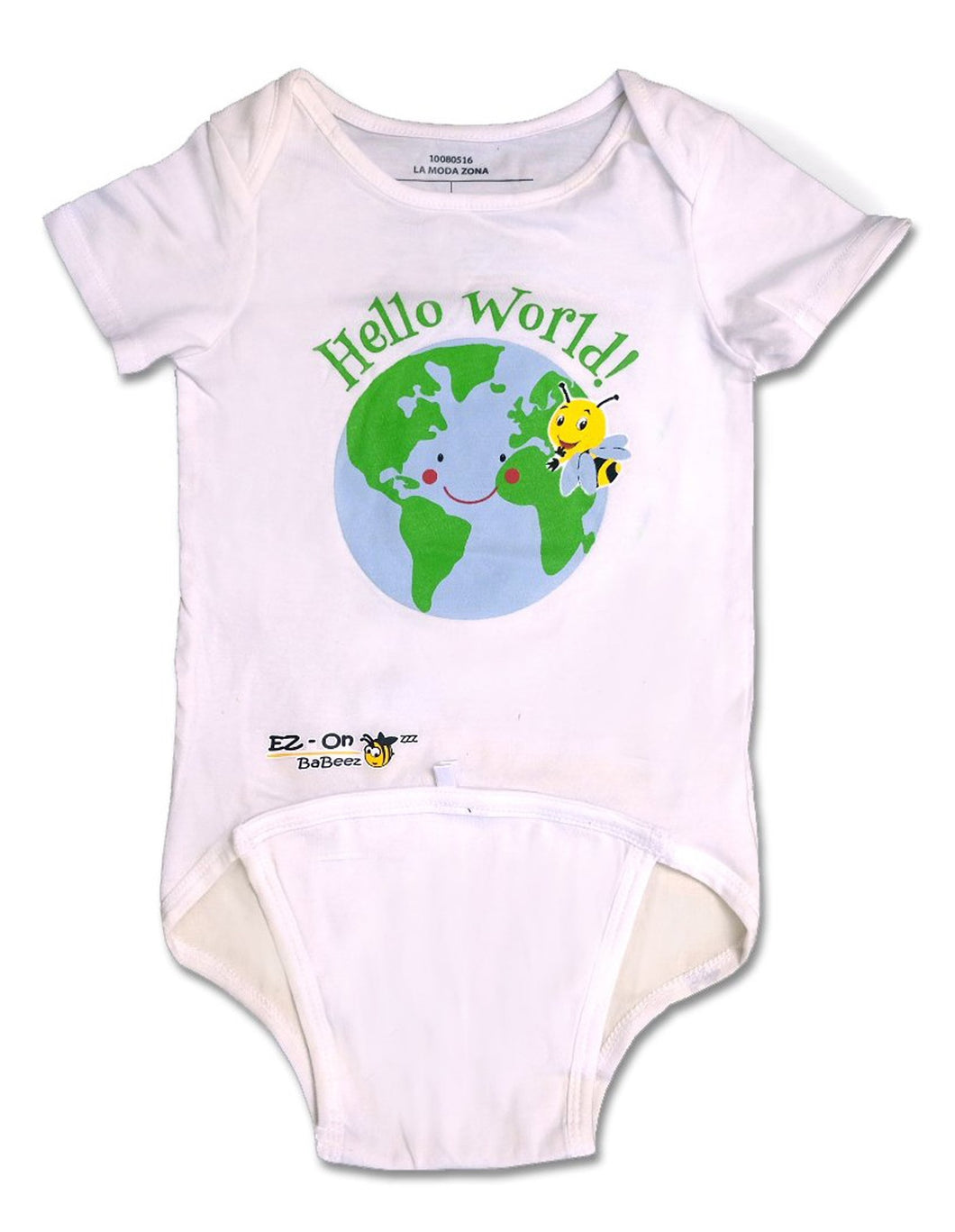 EZ-On BaBeez™ - Spring & Summer - Hello World - on White - Baby Bodysuit
