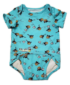 EZ-On BaBeez™ - Spring & Summer - Honeybee - on Aqua - Baby Bodysuit