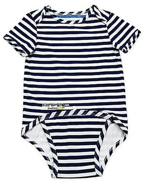 EZ-On BaBeez™ - Spring & Summer - Lapis Blue Stripes - on White - Baby Bodysuit