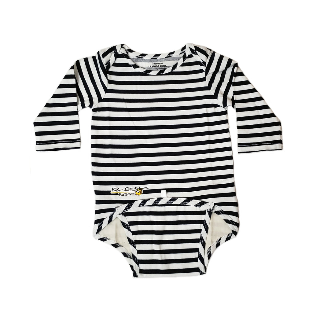 EZ-On BaBeez™ Baby Bodysuit - Lapis Blue Stripes - on White - Long Sleeve