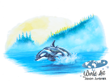 Load image into Gallery viewer, EZ-On BaBeez™ - Mom and Baby Collection - Marine Life Series, Orcas - Toddler T-Shirt