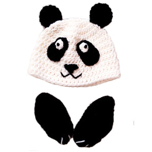 EZ-On BaBeez™ - Accessories - 2-pc Set - Handcrocheted Panda Cap & Bootie