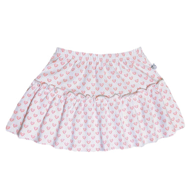 EZ-On BaBeez™ - Red Hearts - on White - Ruffled Skirt