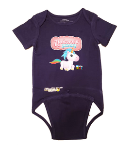 EZ-On BaBeez™ - WarePlay - Unicorns Journey Unicorn Logo - Baby Bodysuit, Short Sleeve