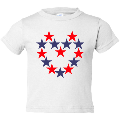 EZ-On BaBeez™ T-Shirt - Americana Collection - Red and Blue Star Heart - Toddler Tee