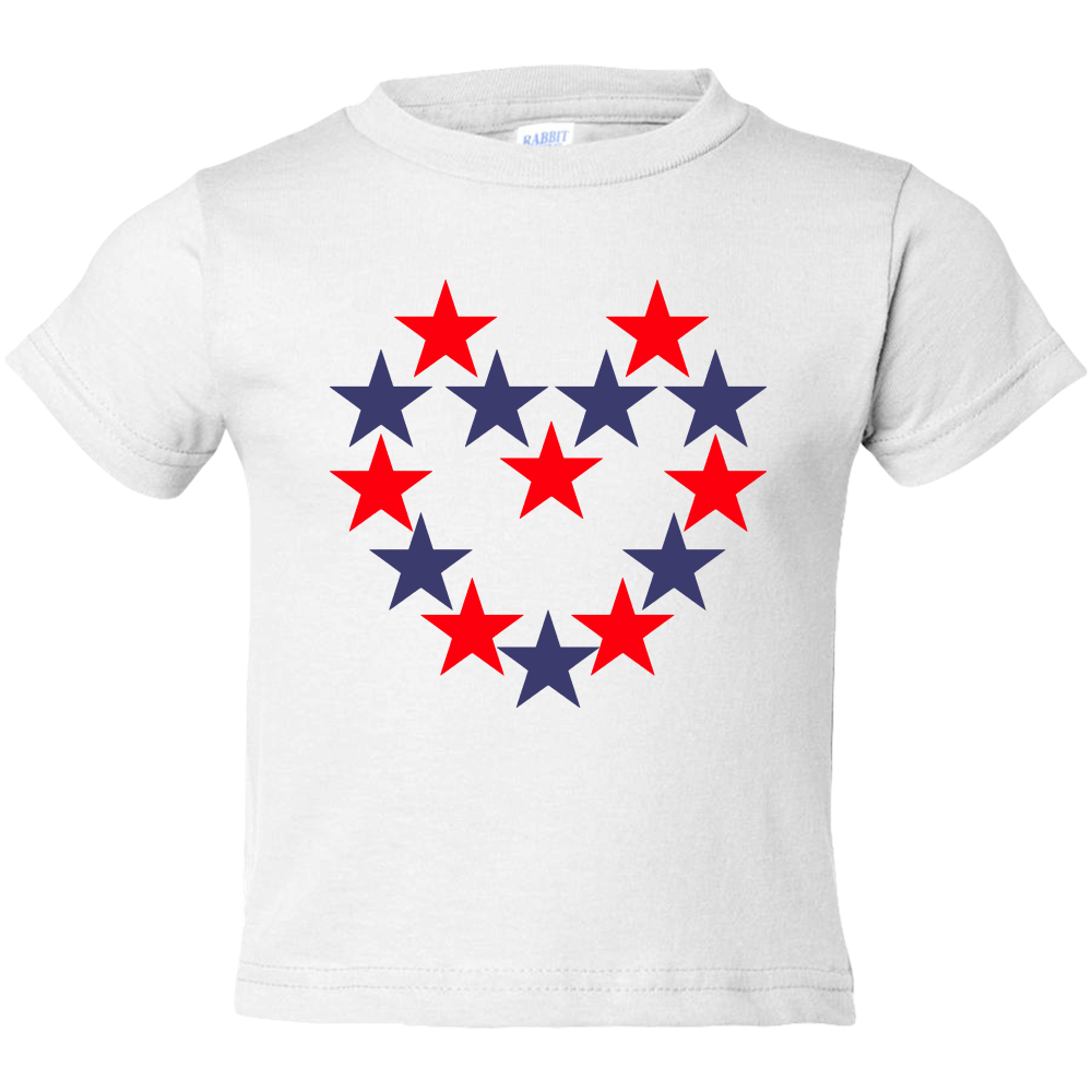 EZ-On BaBeez™ - Americana Collection - Red and Blue Star Heart - Toddler T-Shirt