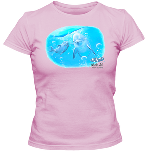 Adult Ladies Classic Tees, Mom and Baby Collection - Marine Life Series, Dolphins