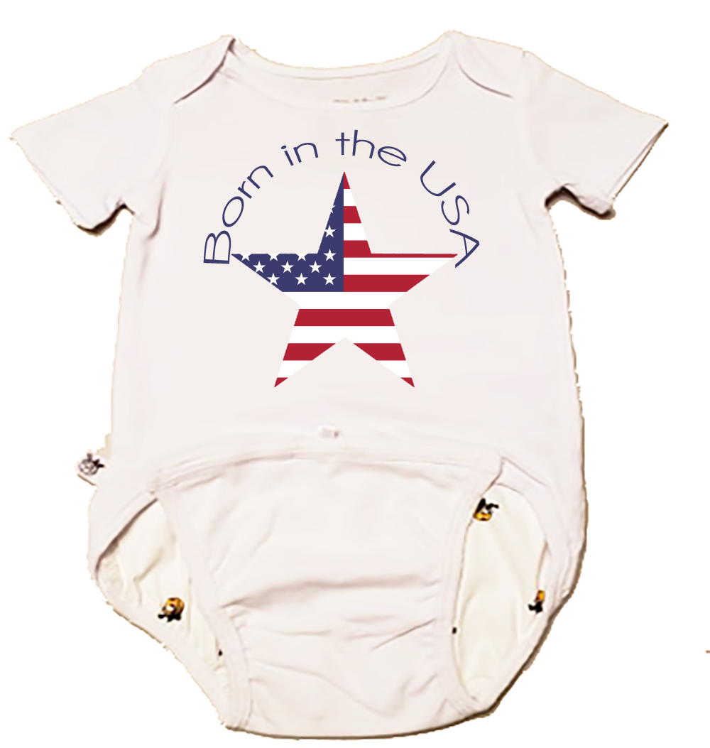 EZ-On BaBeez™ Baby Bodysuit - Americana Collection - Born in the USA - Short Sleeve