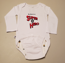 Load image into Gallery viewer, EZ-On BaBeez™ Baby Bodysuit - My Mom is a Super Hero - Police, Long Sleeve