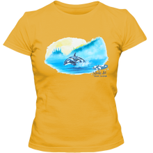 Load image into Gallery viewer, Adult Ladies Classic Tees, Mom and Baby Collection - Marine Life Series, Orcas