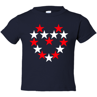 EZ-On BaBeez™ T-Shirt - Americana Collection - Red and White Star Heart - Toddler Tee