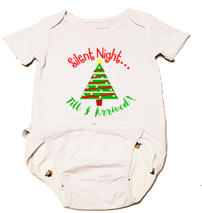 "EZ-On BaBeez Baby Bodysuit, Short Sleeve- Christmas ""Silent Night"""