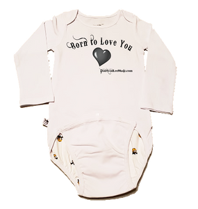 "EZ-On BaBeez™ - ""Born To Love You"" - Baby Bodysuit, Long Sleeve"