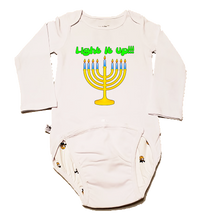 "Load image into Gallery viewer, EZ-On BaBeez™ - Holiday - Hanukkah - ""Light it up"" Menorah - Baby Bodysuit, Long Sleeve"
