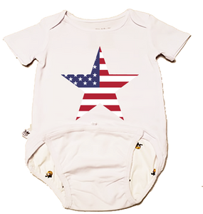 EZ-On BaBeez™ - Americana Collection - Stars and Stripes - Baby Bodysuit, Short Sleeve