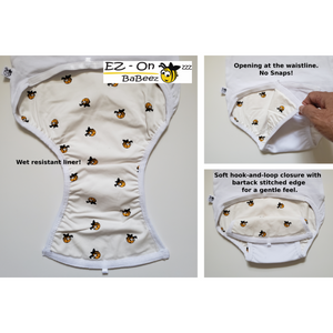 EZ-On BaBeez™ - Spring & Summer - White - Baby Bodysuit, Long Sleeve