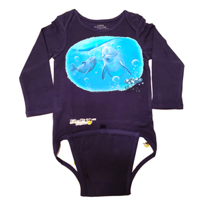 EZ-On BaBeez™ - Mom and Baby Collection - Marine Life Series, Dolphin - Baby Bodysuit, Long Sleeve