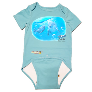 EZ-On BaBeez™ - Mom and Baby Collection - Marine Life Series, Dolphin - Baby Bodysuit, Short Sleeve