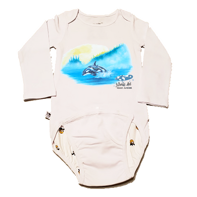 EZ-On BaBeez™ - Mom and Baby Collection - Marine Life Series, Orca - Baby Bodysuit, Long Sleeve