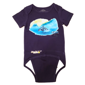EZ-On BaBeez™ - Mom and Baby Collection - Marine Life Series, Orca - Baby Bodysuit, Short Sleeve