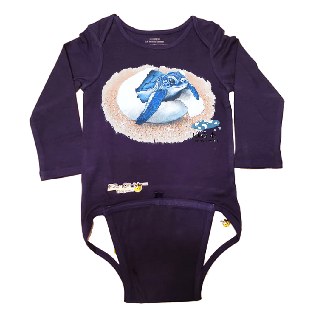 EZ-On BaBeez™ - Mom and Baby Collection - Marine Life Series, Baby Sea Turtle - Baby Bodysuit, Long Sleeve