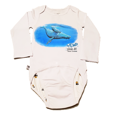 EZ-On BaBeez™ - Mom and Baby Collection - Marine Life Series, Humpback Whales - Baby Bodysuit, Long Sleeve