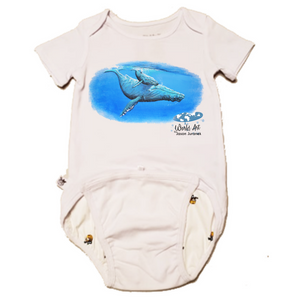 EZ-On BaBeez™ - Mom and Baby Collection - Marine Life Series, Humpback Whales - Baby Bodysuit, Short Sleeve