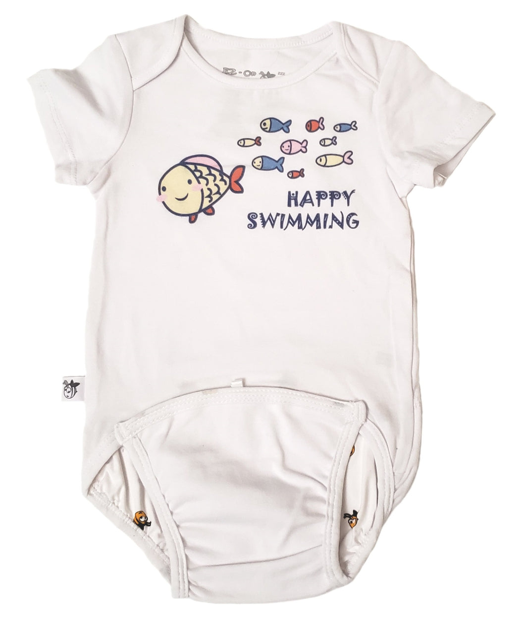 EZ-On BaBeez™ - Spring & Summer - Happy Swimming - on White - Baby Bodysuit