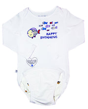 Load image into Gallery viewer, EZ-On BaBeez™ - Spring & Summer - Happy Swimming - on White - Baby Bodysuit