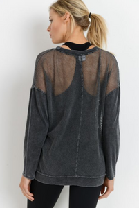 Mesh Long Sleeve Pullover
