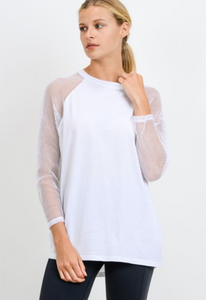 White Open Back Mesh Long Sleeve