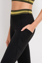 Load image into Gallery viewer, Glittery Gold Stripe Legging