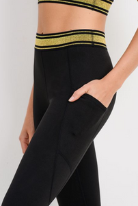 Glittery Gold Stripe Legging