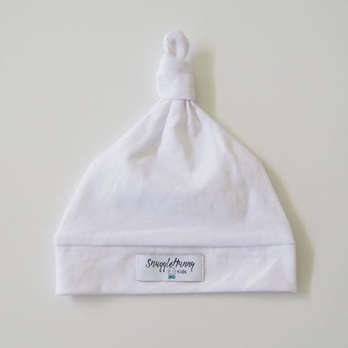 White Knotted Beanie
