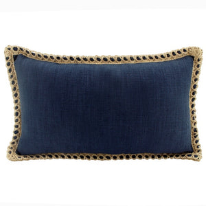 Jute Linen Cushion Navy Rectangle