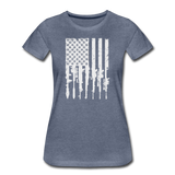 GUN FLAG WOMENS - heather blue