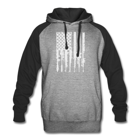 GUN FLAG COLORBLOCK HOODIE - heather gray/black