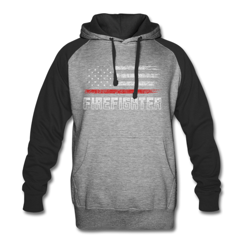 FIREFIGHTER COLORBLOCK HOODIE - heather gray/black
