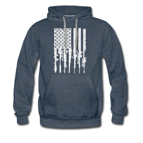 GUN FLAG HOODIE - heather denim