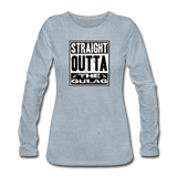 STRAIGHT OUTTA THE GULAG WOMENS LONG SLEEVE - heather ice blue