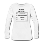 MARINE CHECKLIST WOMENS LONG SLEEVE - white