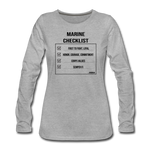 MARINE CHECKLIST WOMENS LONG SLEEVE - heather gray