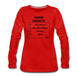 MARINE CHECKLIST WOMENS LONG SLEEVE - red