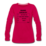MARINE CHECKLIST WOMENS LONG SLEEVE - dark pink